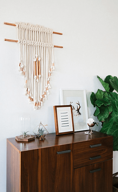 Macrame Copper Pipe Wall Hanging Pattern by A Beautiful Mess