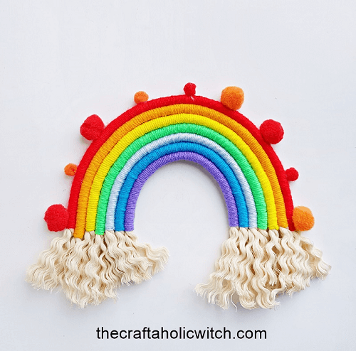 Macrame Rainbow Wall Hanging Pattern by The Craftaholic Witch