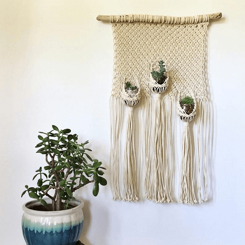 Macrame Wall Hanging Pattern With Plant Pouches by House Sparrow Nesting