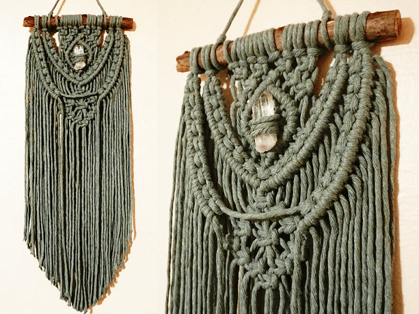 Macrame Wall Hanging With Crystal Pattern by Thyme and Twine Again Co