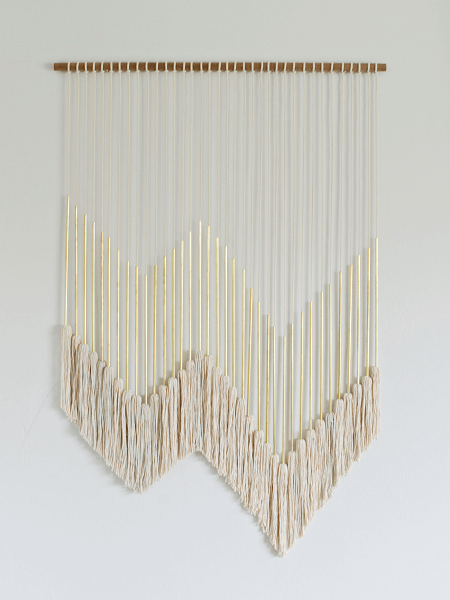Modern Macrame Gold Wall Hanging With Tassels by Britanny Makes
