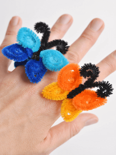 Pipe Cleaner Butterfly Rings by One Little Project