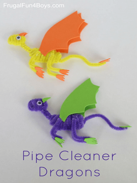 Pipe Cleaner Dragons by Frugal Fun For Boys and Girls