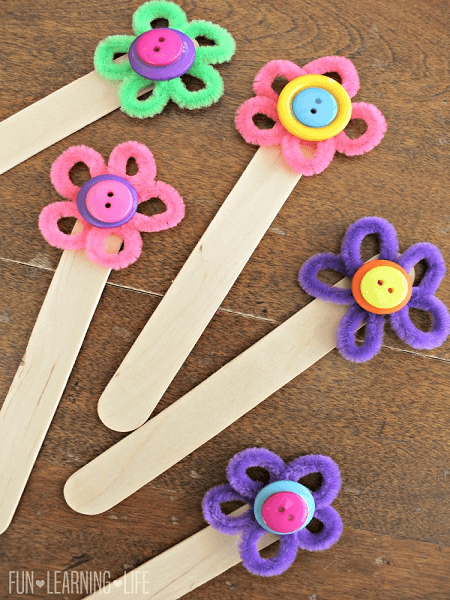 Pipe Cleaner Flower Bookmark Craft by Fun Learning Life