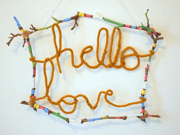 Pipe Cleaner Wall Art by Pink Stripey Socks