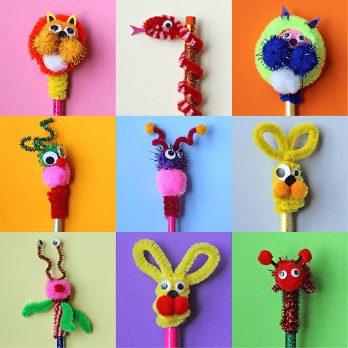 Pipe Cleaners Pencil Toppers by Paper Chase