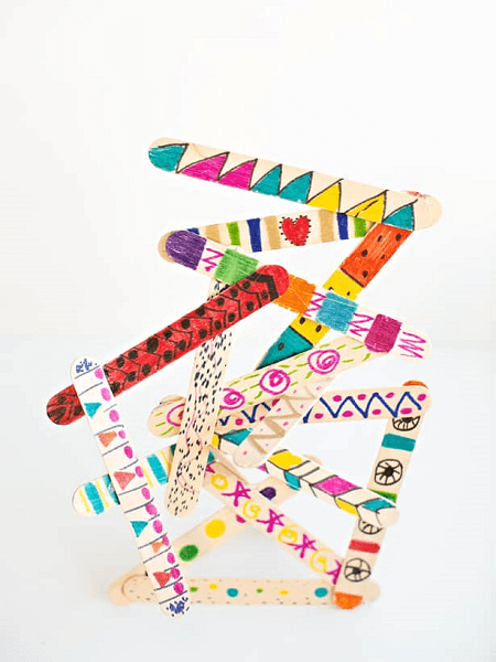 opsicle Stick Art Sculptures by Hello Wonderful