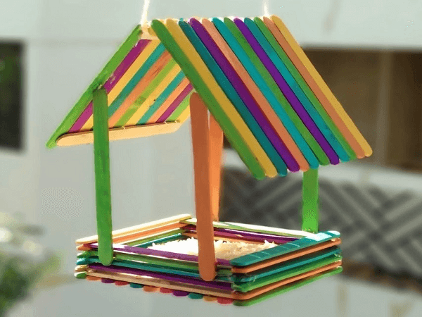Popsicle Stick Bird Feeder by DarVish Arts