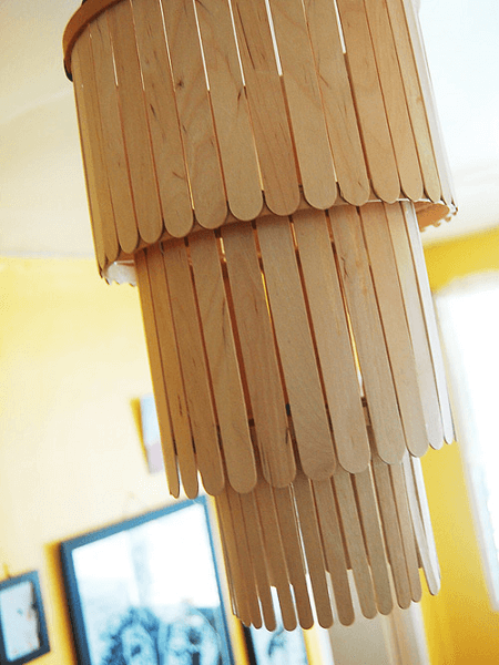 Popsicle Stick Chandelier by Design Sponge
