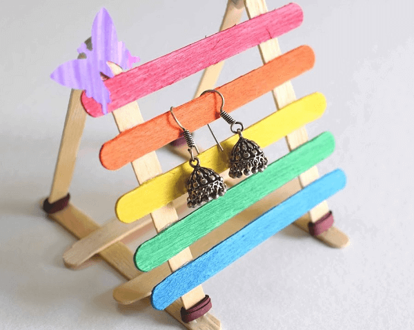 Popsicle Stick Earring Stand by Shivani Creations