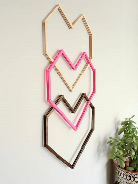 Popsicle Stick Heart Wall Art by Make And Do Crew