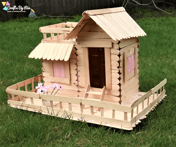 Popsicle Stick House by Crafts By Ria
