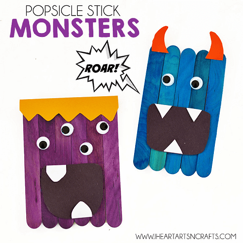 Popsicle Stick Monsters by I Heart Arts n Crafts
