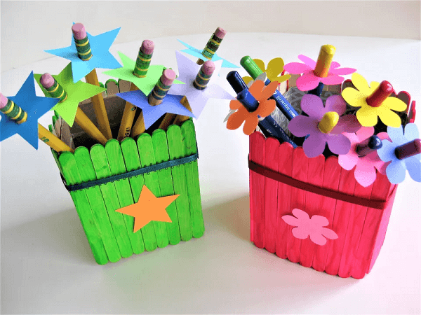 Popsicle Stick Pencil Holder by Katherine Lee