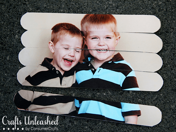 Popsicle Stick Photo Puzzle by Crafts Unleashed
