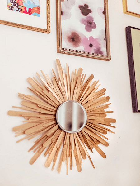 Popsicle Stick Sunburst Mirror by Gracefully Searching