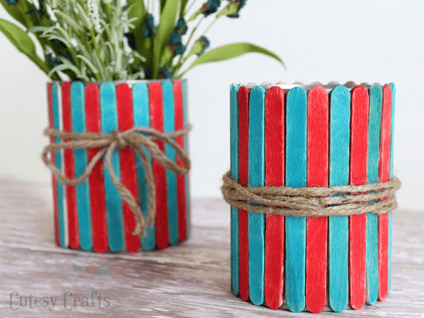 Popsicle Stick Vases by Cutesy Crafts
