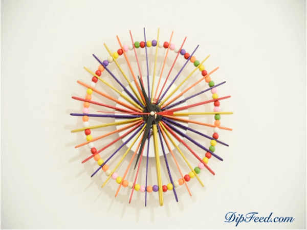 Popsicle Stick Wall Clock by Dip Feed
