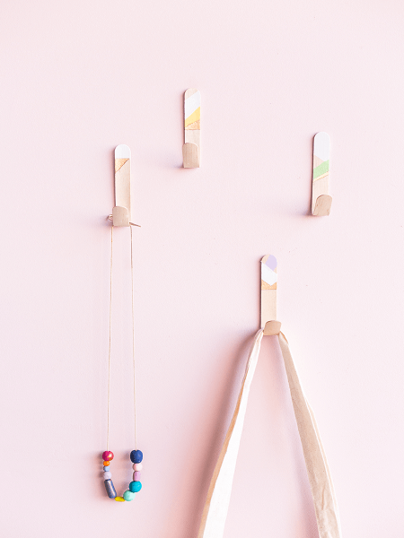 Popsicle Stick Wall Hooks by Fall For DIY