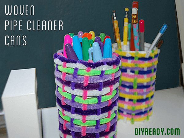 Woven Pipe Cleaner Cans by DIY Ready