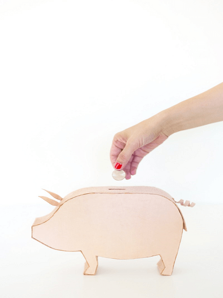 DIY Leather Piggy Bank by Lovely Indeed