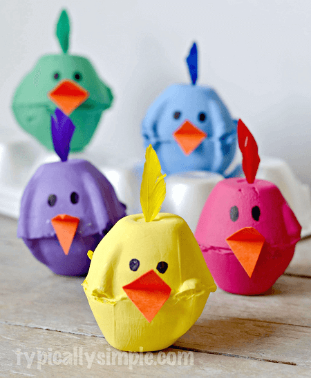 Egg Carton Chicks Crafts by Typically Simple