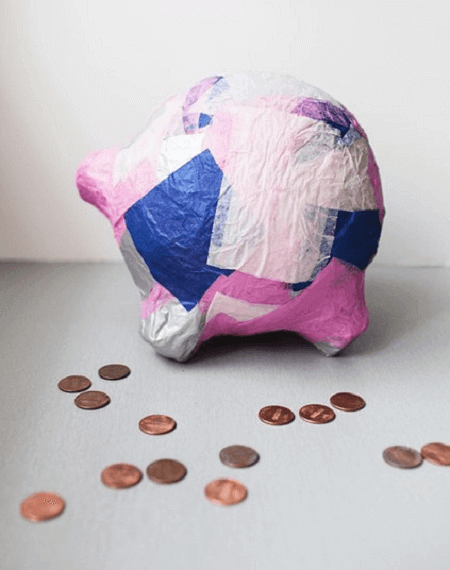 DIY Paper Mache Piggy Bank by In The Little Red House