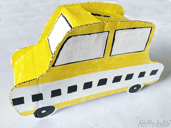 DIY Taxi Cab Piggy Bank by Double Duty Mommy