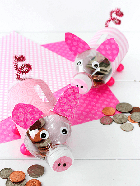 DIY Water Bottle Piggy Banks by Our Kid Things