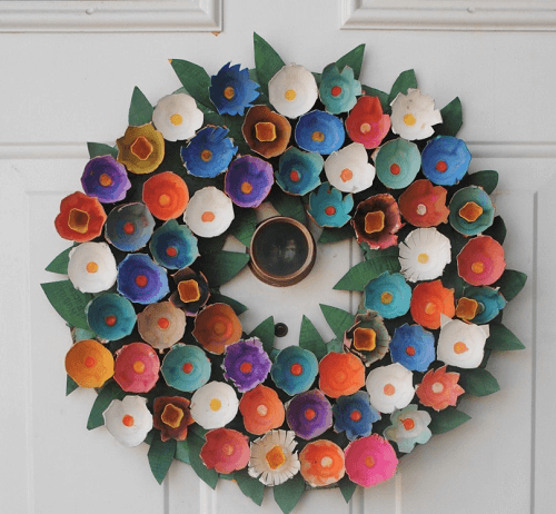 Egg Carton Easter Wreath by Our Putlock Family