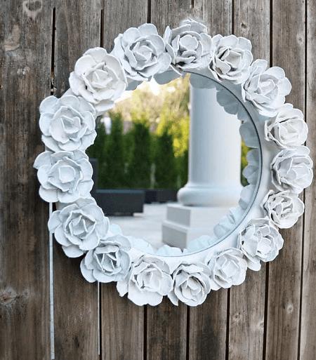 Egg Carton Rose Mirror Frame by Wonderful DIY