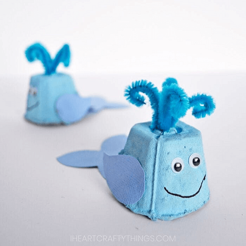 Egg Carton Whale Kids Craft by I Heart Crafty Things