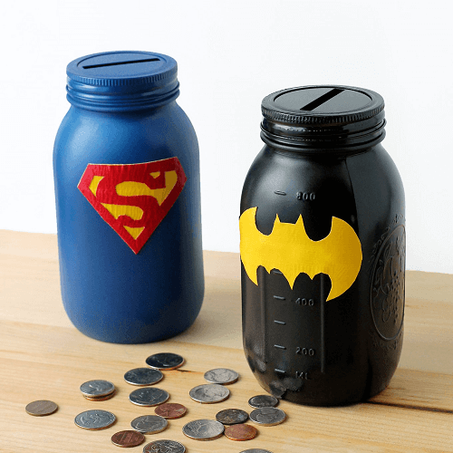 Mason Jar Superhero Coin Banks by Fireflies And Mud Pies