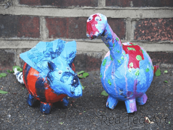 Paper Mache Dino Bank by Red Ted Art