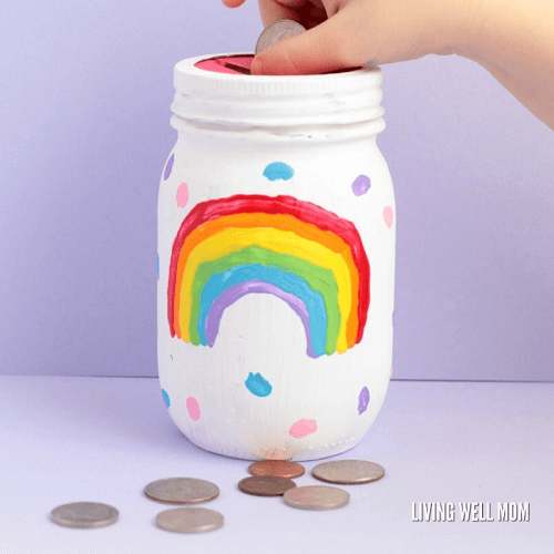 Rainbow Mason Jar Piggy Bank by Living Well Mom