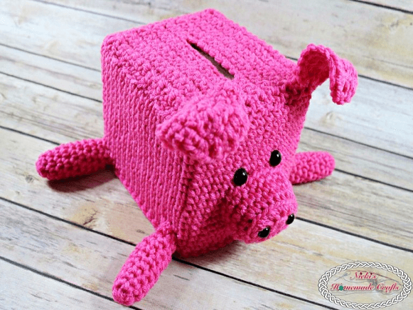 Tissue Box Crochet Piggy Bank by Nicki's Homemade Crafts
