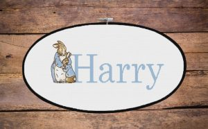 personalized Beatrix Potter Cross Stitch pattern peter rabbit and his loving mum