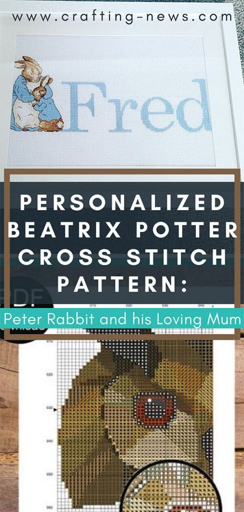 Personalized Beatrix Potter Cross Stitch Pattern: Peter Rabbit and his Loving Mum