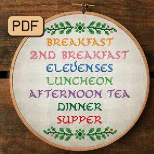 Hobbit Meals Cross Stitch Pattern