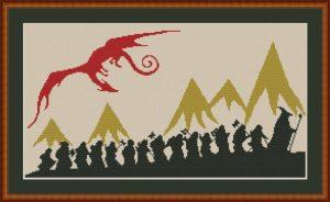 Hobbit Silhouette Cross Stitch Pattern