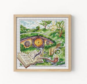 The Shire Green Landscape Lord of the Rings Cross Stitch Pattern