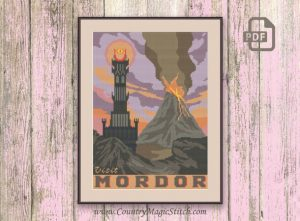 Visit Mordor, Lord of the Rings Cross Stitch Pattern