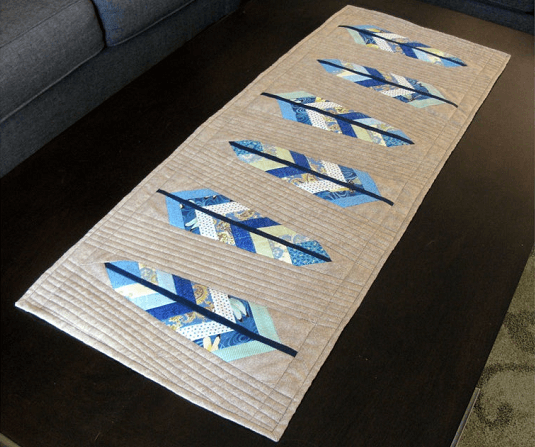 Feather Your Nest Quilted Table Runner Pattern by Cut Stitch And Piece