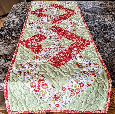 Interlocking Squares Quilted Table Runner Pattern by Perfectly Pasch Gifts
