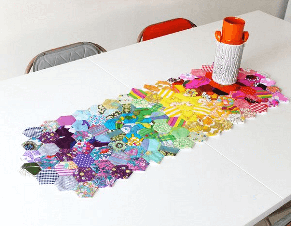 Patchwork Hexagon Table Runner Quilt Pattern by My Poppet Makes