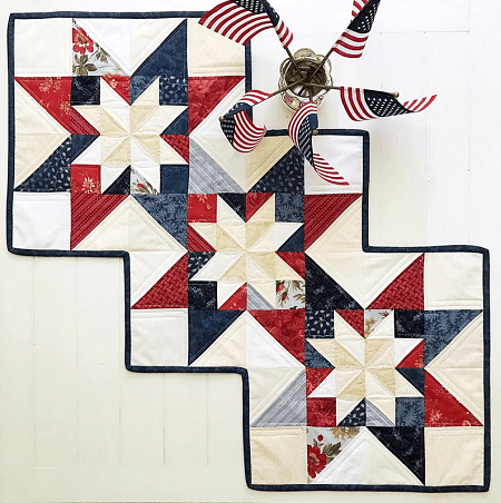 Patriotic Star Quilt Table Runner Pattern by Maple Cottage Designs