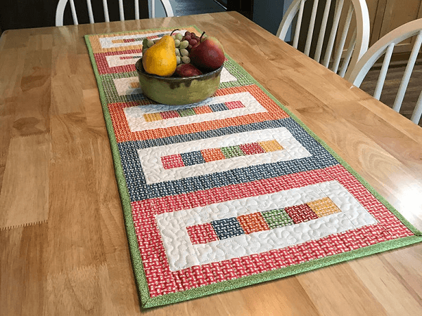 Rainbow Blocks Table Runner Quilt Pattern by Tulip Square