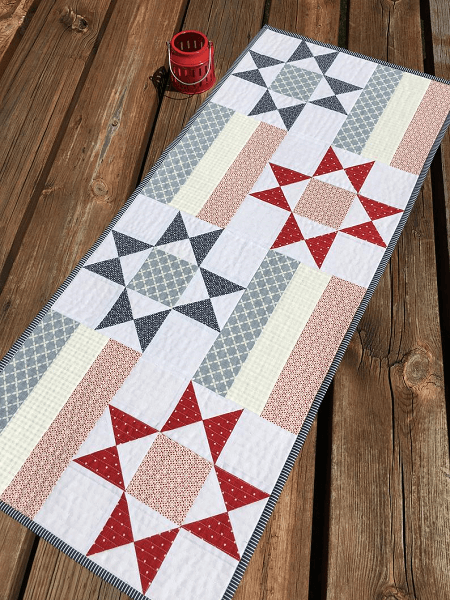 Stars And Bars Quilted Table Runner Pattern by Fresh Dew Drops