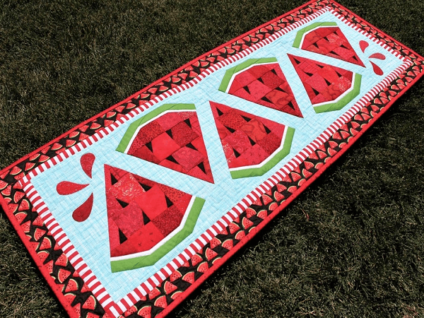 Watermelon Twist Table Runner Quilt Pattern by Quilt Fabrication