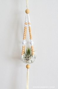 Easy Beaded Macrame Plant Hanger Tutorial by Made in a Day